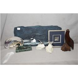 Selection of Canadian art collectibles including loon plaque, shadow box framed pewter loon, two Hos