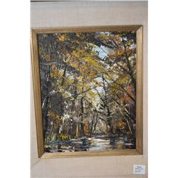 """Framed oil on board painting of a wooded creek, no artist signature seen, 10"""" X 8"""""""