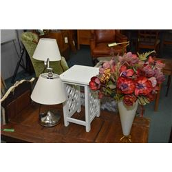 Selection of collectibles including double branch chrome table lamp, a tall milk glass vase with yel