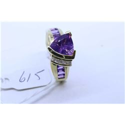 Ladies 14kt yellow gold, amethyst and diamond ring, set with 1.40ct brilliant cut amethyst and 0.64c