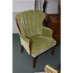 Mid 20th century velour upholstered channel back parlour chair