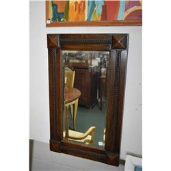 """Antique oak framed bevelled wall mirror with carved rope design, overall dimensions 31 1/2"""" X 19"""""""