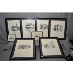 Six framed limited edition prints of Edmonton landmarks including Strathcona library, Rutherford Hou