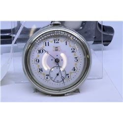"""Hampden """"18"""" size pocket watch, 17 jewel, railroad grade special adjusted, serial #757972, dates to"""