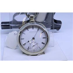"Waltham size ""18"" pocket watch, 7 jewel, grade Wm. Ellery model 1857, serial 777413, dates to Octobe"