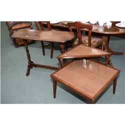 Mid 20th century walnut console/sofa table and a mid century modern walnut and simulated wood step t