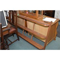 "Three tier wall mount mahogany, mid century modern design, plate/display shelf, 71"" wide"