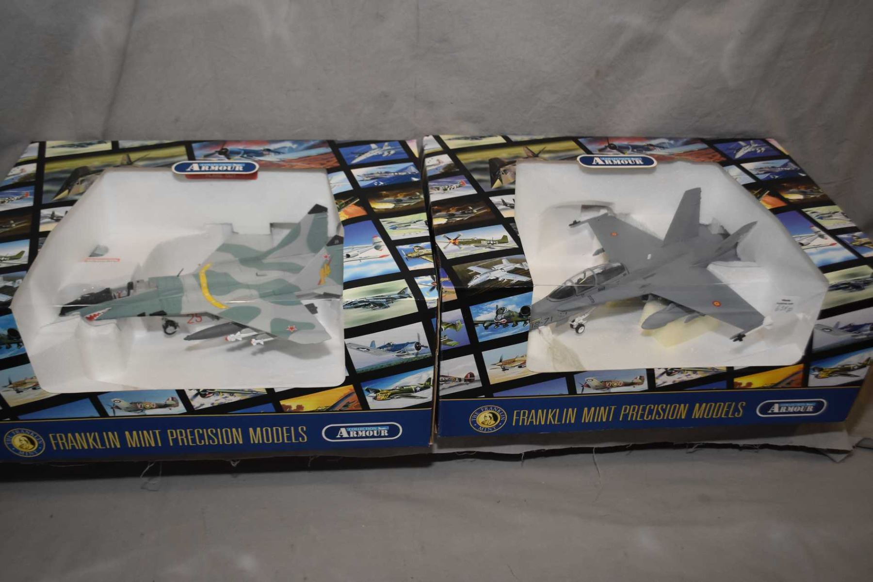 Two Franklin Mint 1:48th scale, die cast fighter jets including