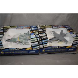 """Two Franklin Mint 1:48th scale, die cast fighter jets including """"F18 Hornet"""" , new in box and a """"Mig"""