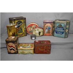 Nine vintage collectible tins including Gold Standard Ceylon tea, Cusson's Coronation talcum, Englis