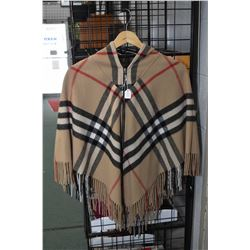 Burberry of London 90% Scottish Merino wool and 10% Cashmere hooded poncho