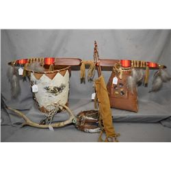 Selection of First Nations themed collectibles including bark lidded basket with moose tufted thistl