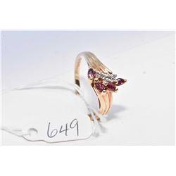 Ladies 10kt yellow gold, amethyst gemstone and diamond ring