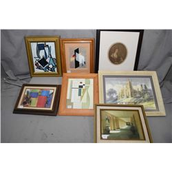 Seven framed prints with assorted themes