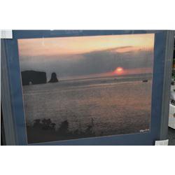 "Framed original photograph ""Percè, Canadian Sunrise"" by artist Leonard, overall dimensions 40"" X 36"""