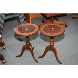 Pair of small matching Canadian made leather top wine tables made by Baetz