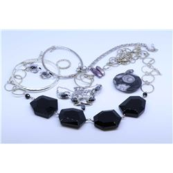 Selection of ladies vintage and collectible sterling jewellery including Titan sterling necklace and