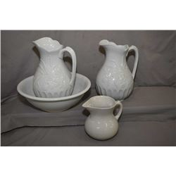 Two Canadian Opaque pottery embossed water jugs, a Meakins & Sons Ironstone basin and a pottery pitc