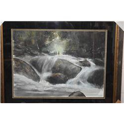 """Framed giclee on Somerset velvet print titled """"Lazy Bear Falls"""" by artist Graham Flatt, overall dime"""