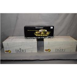 """Three 1:35th scale die cast tanks including Minichamps """"King Tiger Normandy"""", and two Dragon Armour"""