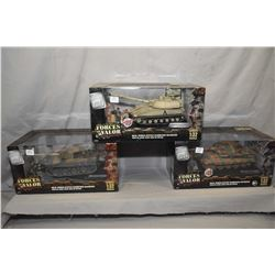 """Three Forces of Valor 1:32 scale die cast tanks including """"German Tiger I"""", """"German King Tiger"""" and"""