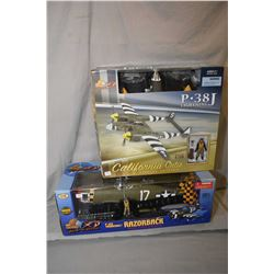 """Two Ultimate Soldier 1:18th scale airplanes including """"P-47 D Thunderbolt-Razorback"""" retails $100.00"""