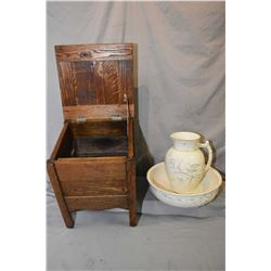Oak flip top commode and an unmarked dragonfly, bird and floral motif bowl and jug