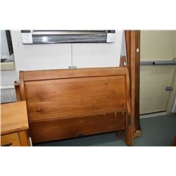 """Antique 50"""" sleigh bed with headboard, footboard and rails and a three drawer maple chest"""