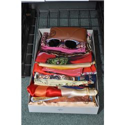 Twenty silk scarves and a pair of Ray Ban sunglasses with case