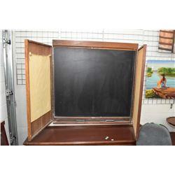 Vintage top quality board room blackboard in hide-away cabinet