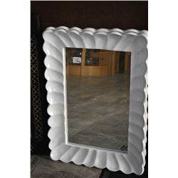 Pair of matching white lacquered, framed bevelled mirrors
