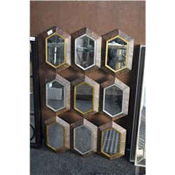 Nine panel mosaic framed wall mirror