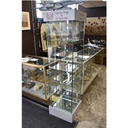 "Pillar style retail display cabinet with single locking door and five shelves, 70"" in height"