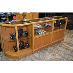 Oak and glass U-shaped retail display and cash center with adjustable glass shelving, and storage ar