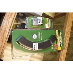 Two new in package Remington model 597 rim fire magazines including a 30 round .22LR and a smaller .