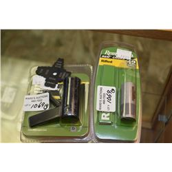 New in package Remington 12 ga. rifled choke, component no. F 94650 and a bolt disassembly tool for