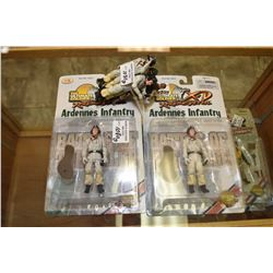 "Six ""The Ultimate Soldier"" action figures including five matching in winter uniform, two in packagin"