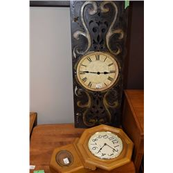 Two wall clocks including a Westminster chime quartz in oak case and a metal decor wall clock