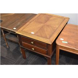 Two drawer, matched grain end table