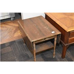 Single drawer, drop leaf end table