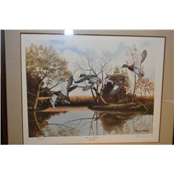 """Framed limited edition print """"Quiet Love Mallards"""" pencil signed by artist Elton Louviere 2234/4300"""
