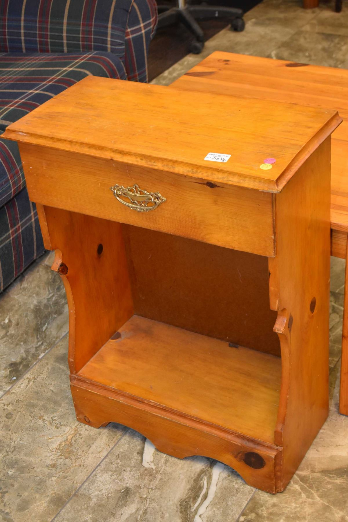 Two pieces of knotty pine furniture including single drawer ...