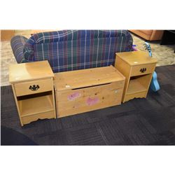 Pair of matching single drawer bed end tables and a pine hinge lidded toy box