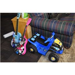 Batman motif child sized Power Wheels electric quad with charger and two children's acoustic guitars
