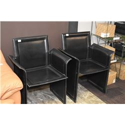 Pair of steel and leather wrapped reception chairs