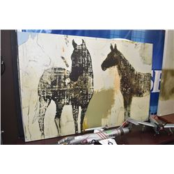 """Large stretched canvas print of two horses 60"""" X 40"""""""