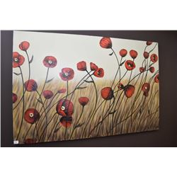"""Stretched canvas painting of poppies initialled by artist M. 60"""" X 40"""""""