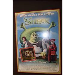 Framed Shrek movie poster with inset coloured movie photo