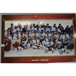 Dry mount plaque of Team Canada 2002 Champions men's hockey team, Salt Lake City 2002