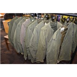 Nine military issue jacket liners, assorted sizes